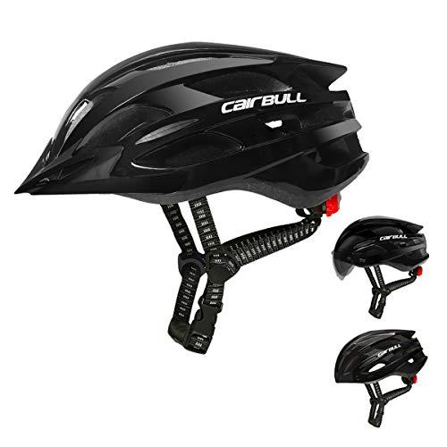 Cairbull Casco Ciclo Casco Ciclismo Regolabile Uomo Donne Adulto Mountain Sicurezza Protezione Caschi Bicicletta Dotato di Luce LED/Occhiali da Sole Visiera/Brim