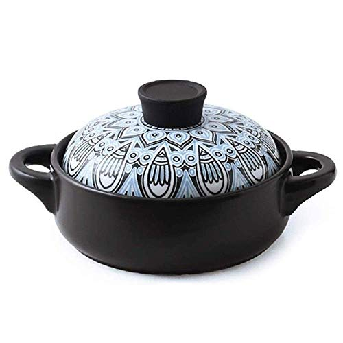 XIAO WEI Casserole cookware Durable Ceramic Casserole Classic Pattern Design Household Ceramic Soup Pot with Two Handles and lid Best for Cooking (Size: 3.5 l)