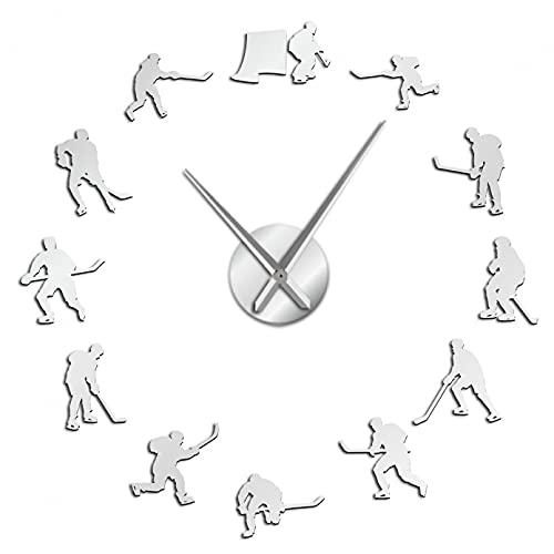 YQMJLF Reloj Pared DIY 3D Grande Pegatinas Deportivas Colgar en la Pared Hockey Reloj Pared Grande DIY Jugadores Hockey sobre Hielo decoración hogar Reloj silencioso Gigante Regalo Hombre Plata