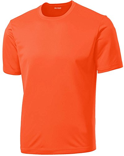 DRIEQUIP Men's Tall Short Sleeve Moisture Wicking Shirt,Neon Orange-4XLT