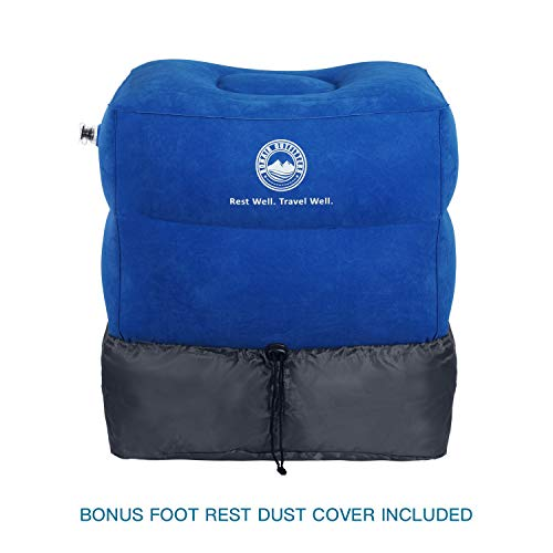 Bonair Outfitters - Almohada inflable de viaje con bomba, para niños, de avión, para dormir, almohada de altura ajustable para piernas, Azul, 17.3 ' x 15.4 '...