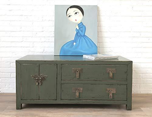 OPIUM OUTLET - Mobile TV in stile coloniale, in legno cinese, disponibile in diversi colori (grigio oliva)