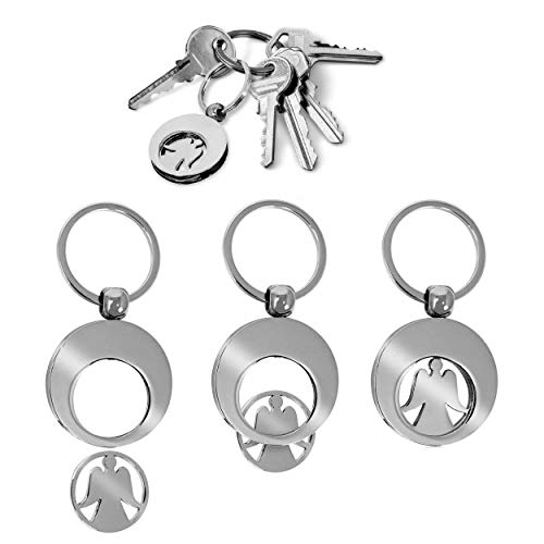 Oramics Engel Chip Einkaufswagen als Schlüsselanhänger - Metall Schutzengel Einkaufswagenchip Anhänger für alle Einkaufswagen - Praktischer Angel Coin Jeton Einkaufschip abziehbar (5 Stück)