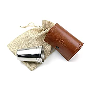 iSavage Shot Glasses with Brown-Red Leather Case 1.2oz Each Set of 4 18/8 Stainless Steel 1pc Reusable bag