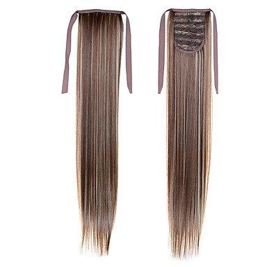 MZP longue ligne droite queue 22inch 55cm 100g # 8/613 couleur mélangée cordon synthétique l'extension ponytails de queue de cheval de cheveux , #27/613