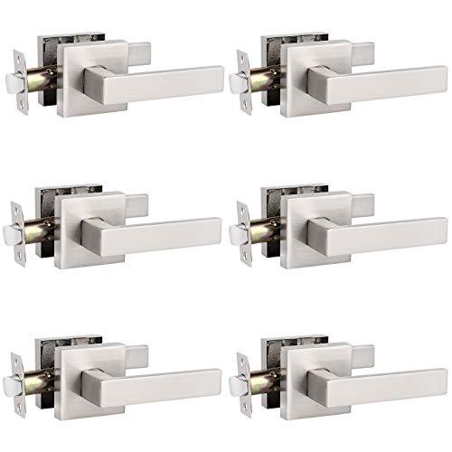 6 Pack Probrico Square Door Lever Door Lock Handle Lockset Keyless Doorknobs Passage Knobs Lockset Interior Hallway Passage Closet in Satin Nickel