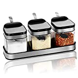 Condiment Jar Spice Container with 304 Stainless Steel Lids & Spoons,Clear Glass Condiment Canisters Pots Seasoning Box Salt Container Sugar Bowl Set of 3 for Kitchen, Counter, Food Storage