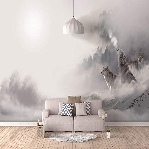Murales Papel Pintado,Lobo animal brumoso 4D Wallpaper Art Póster De Impresión HD De Salón Decoracion Gran Mural De Seda,200Cm(W)×140Cm(H)