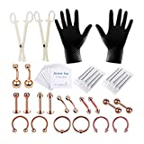 SUPVOX kit professionnel piercing ventre anneau langue tragus mamelon nez lèvre labret bijoux outils mis 42pcs (or rose)