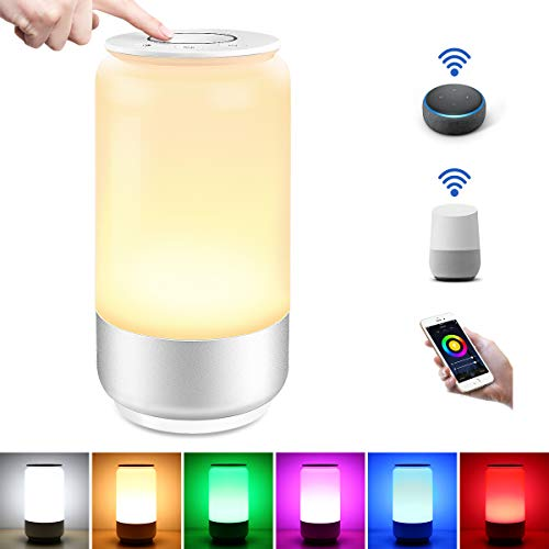 LE LampUX Lampe de Chevet LED WiFi Intelligente, Fonctionne avec Alexa, Google Home, Lampe de Table RGB & Lumière Blanche Dimmable avec APP et Bouton, Idéale pour Repos, Lecture et Décoration
