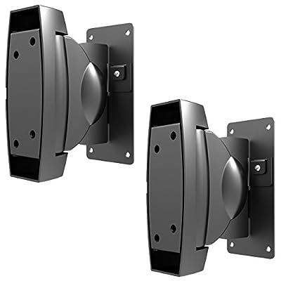 deleyCON 2 Universal Speakers Wall Mount 10Kg Swivel Rotatable Tiltable Full Motion Mount Bracket Wall Mount Multiroom Speaker by deleyCON
