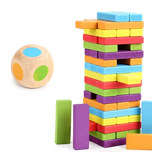 New YONGMEI 54 Pieces Color Stacking Game Wooden Building Tower, Domino Building Blocks for Children...