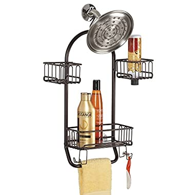 mDesign Bathroom Shower Caddy for Tall Shampoo, Conditioner, Soap Bottles - Bronze