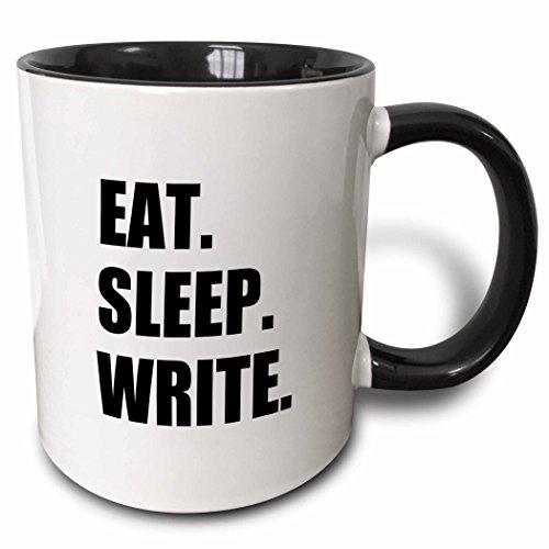 3dRose 180459_4 Eat Sleep Black Text-Writing Fan-Writer Gifts-Fun Funny Two Tone Mug, 11 oz