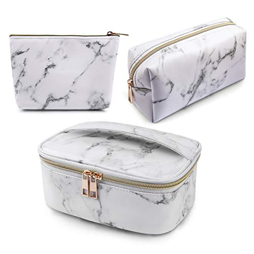 MAGEFY 3Pcs Makeup Bags Portable Travel Cosmetic Bag Waterproof Organizer Multifunction Case with Gold Zipper Marble Toiletry Bags for Women