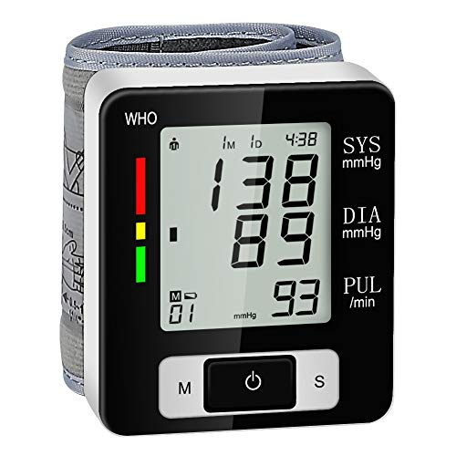 Blood Pressure Monitor, Fully Automatic Digital Wrist Blood Pressure Cuffs for Home Use, Irregular Heartbeat Detector with 2x60 Readings Memory Function (Black)