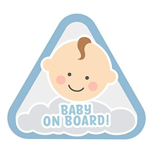 K007 | Baby on Board Aufkleber Sticker Babyaufkleber Auto Babyautoaufkleber Autosticker Vinyl Baby on board Mädchen Junge Boy Girl (V2 Junge, Pastellblau)