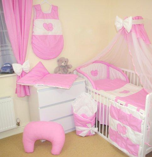 Juego de ropa de cama 17 Piezas para Cuna 140x70cm (2- Rosa)