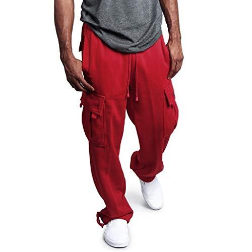 Ansenesna Jogginghose Herren Offener Beinabschluss Gummibund Jersey Sporthose Männer Viele Taschen mit Drawstring Hose Gummizug Seitentaschen Trainingshose Regular Fit Freizeithose