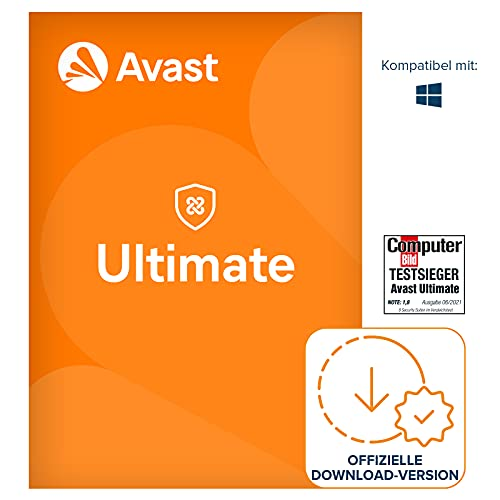 Avast Ultimate 2021 - Avast Premium Security Antivirenschutz im Paket mit Avast SecureLine VPN und Avast Cleanup Premium   1 Gerät   1 Jahr   PC/Mac   Aktivierungscode per Email