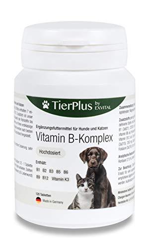 EXVital Tierplus Vitamin B Komplex für Hunde & Katzen- B1, B2, B3, B5, B6, B9, B12, K3, 120 Tabletten, hochdosiert- Made in Germany
