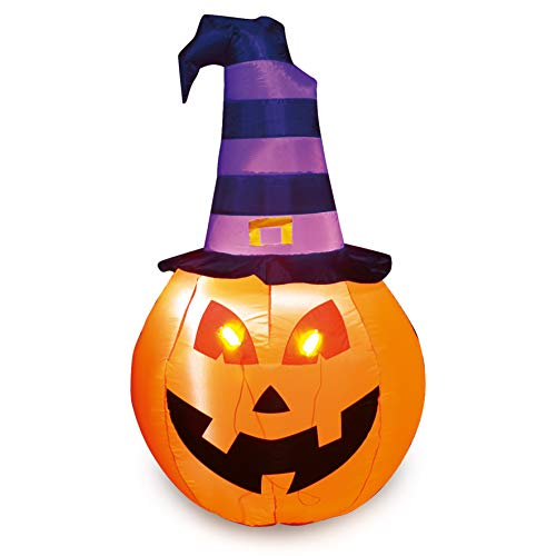 Joiedomi Halloween 5 FT Inflatable Pumpkin with Witch Hat, Build-in LEDs Blow Up Inflatables for Halloween Party Indoor, Outdoor, Yard, Garden, Lawn Decorations
