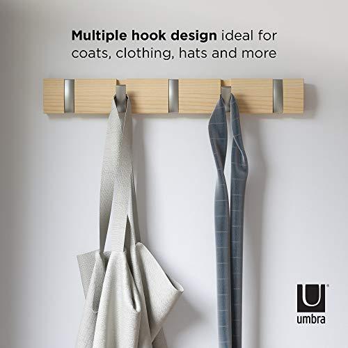 color madera Umbra 318850-390 Perchero de pared con ganchos extra/íbles para varios abrigos UMBRA