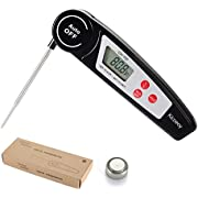 Digital Instant Read Meat Thermometer, Kicoeoy Ultra Fast Waterproof Food Thermometer, Outdoor Cooking Thermometer for BBQ Grill Baking Milk- Folding Metal Kitchen Grilling (black)