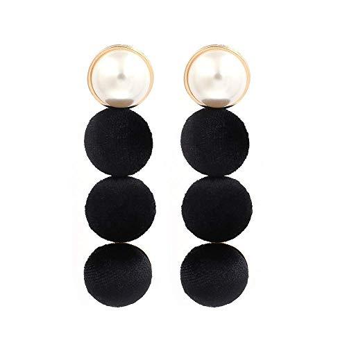 JY Novelty Jewelry-Women's Earrings European and American Minimalist Style, Black Fashion Simple Flannel Hemisphere Beaded Earrings Temperament Wild Pearl Earrings Stud Earring