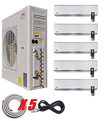 YMGI Five 5 Zone 60000 BTU 9000 9000 9000 9000 24000 5 Ton Wall Mount Ductless Mini Split Air Conditioner with Heat Pump with 25 Ft Lineset Installation Kits
