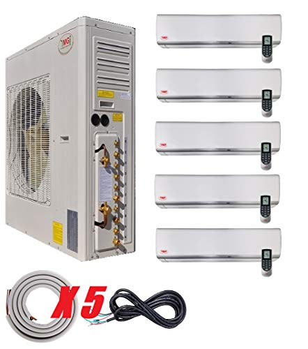 Ductless Mini Split Air Conditioner with Heat Pump YMGI Five Zone - 9000 9000 12000 12000 24000 Wall Mount with 25 Ft Line set Installation Kits