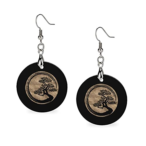 Modische Sommer-Ohrringe aus Holz, Tropfenform, leicht, runde Kreise, Ohrringe für Frauen und Mädchen, Enso Zen Kreis und Bonsai-Baum, Gold