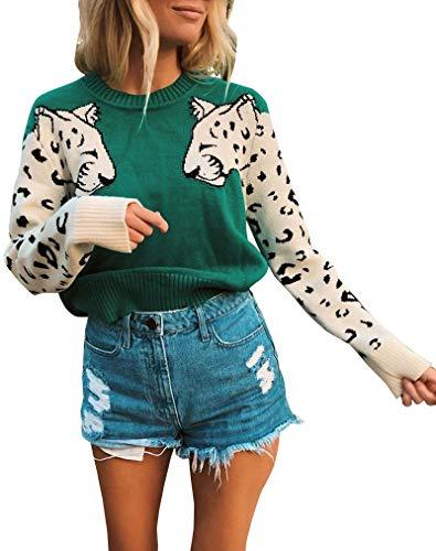 Avanova Women's Leopard Sleeve Sweater Long Sleeve Crew Neck Knitted Pullover Sweater,Green S