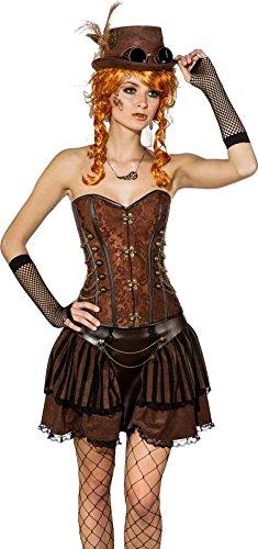 Orlob Damen Kostüm Steampunk Corsage in braun Karneval Fasching Gr.XL