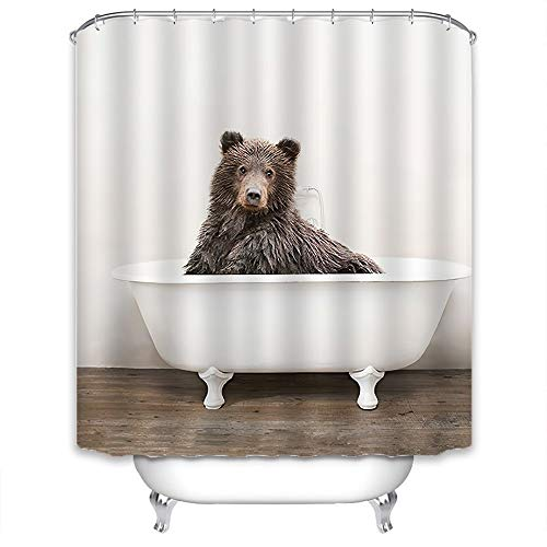 Xlabor Lustig Tier Duschvorhang Badewannevorhang Wasserdicht Anti-Schimmel Stoff inkl. 12 Duschvorhangringe für Badezimmer Bär 240x200cm