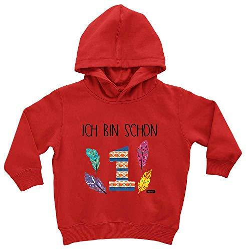 HARIZ HARIZ Baby Hoodie Ich Bin Schon Eins Indianer 1 Geburtstag Geschenkidee Plus Geschenkkarten Feuerwehr Rot 1-2 Jahre