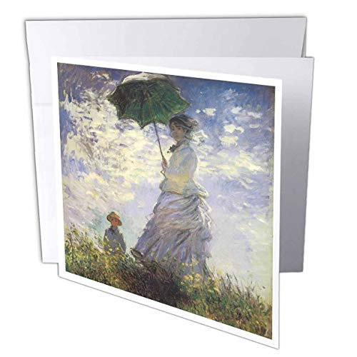 3dRose Woman with a Parasol, Madame Monet with her Son by Claude Monet, 0875 - Greeting Cards, 6 x 6 inches, set of 12 (gc_126571_2)