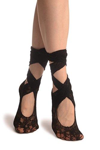 LissKiss Black Stretch Lace Ballet Pointe Footies - Schwarz Socken Einheitsgroesse (37-42)