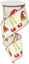 Elf Christmas Wired Ribbon: White Red Lime Green 2.5 Inches X 10 Yards