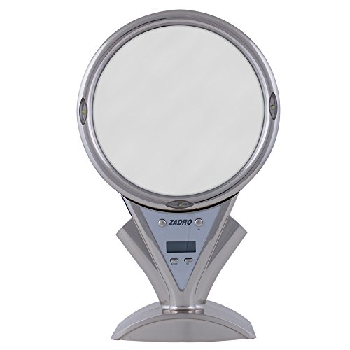 Zadr0 5X - 1X Power ZoomLED Lighted Shower Mirror, Stainless Steel