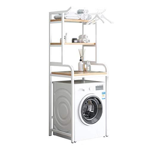 Zzmop 3 Tier Washing Machine Shelf with Clothes Rail,Bathroom Organizer Shelf,Toilet Storage Rack,Space Saver,White,for Laundry Room,Living Room.