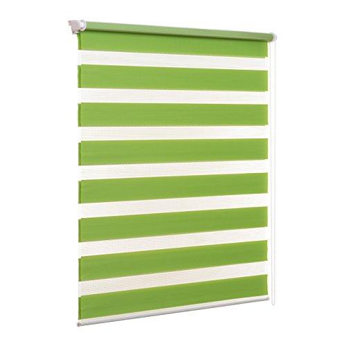 Ventanara Doppelrollo ohne Bohren Klemmfix Grün Fenster Duo Rollo verspannt inklusive Klemmträger 110 x 150 cm