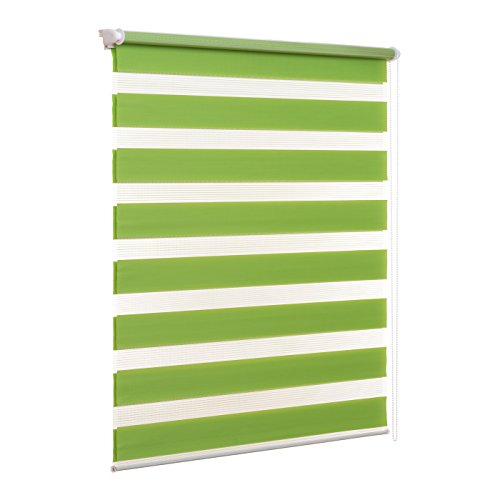 Ventanara Doppelrollo ohne Bohren Klemmfix Grün Fenster Duo Rollo verspannt inklusive Klemmträger 40 x 150 cm
