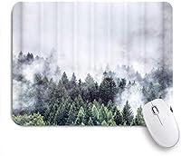 MISCERY マウスパッド 神秘的な風景の霧のシーンとストリームビュー 高級感 おしゃれ 防水 端ステッチ 耐久性が良い 滑らかな表面 滑り止めゴム底 24cmx20cm