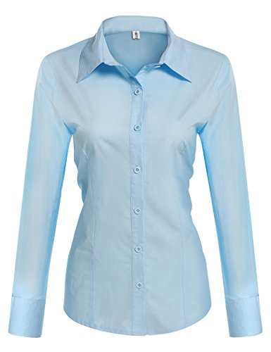 HOTOUCH Womens Slim Fit Cotton Flannel Tailored Shirt/Light Blue/Small