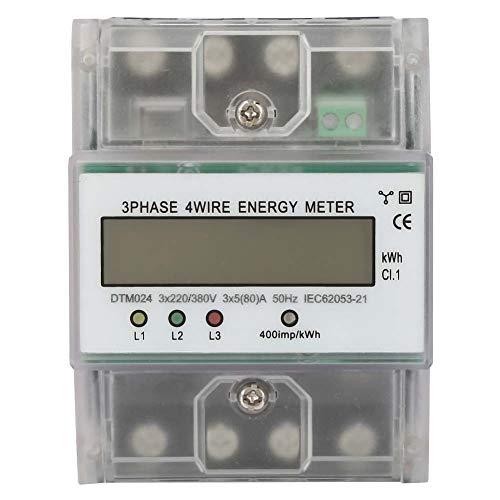 Stromzähler - 220 / 380V 5-80A Energieverbrauch Digitaler Stromzähler 3 Phasen 4P KWh Zähler mit LCD