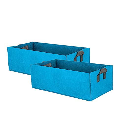 ieasysexy 2-Pack Fabric Raised Planting Bed Garden Grow Bags Rectangle Planting Container with Handle Herb Flower Vegetable Planter