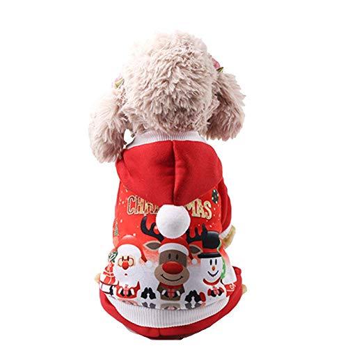 Suter con capucha de Navidad de cuatro patas con Pap Noel mueco de nieve y gato