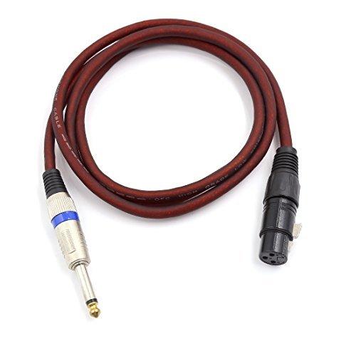 DealMux 3 Terminais XLR de 6,5 milímetros Mono Adaptador Stereo Microfone Mic cabo de extensão 156 centímetros longo