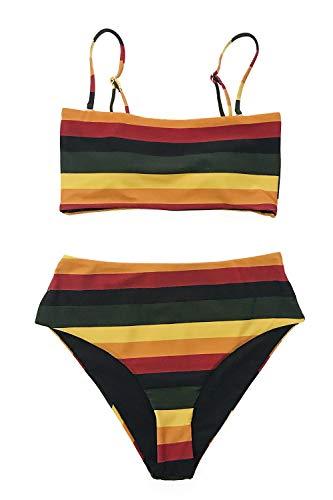 CUPSHE Women's Stripe Reversible Bandeau Top High Waisted Bikini Medium